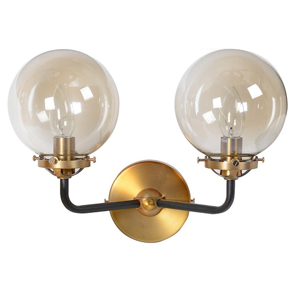 Smoked Double Ball Wall Sconce