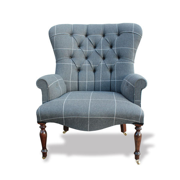 Saville Row Woollen Button Back Chair - Large