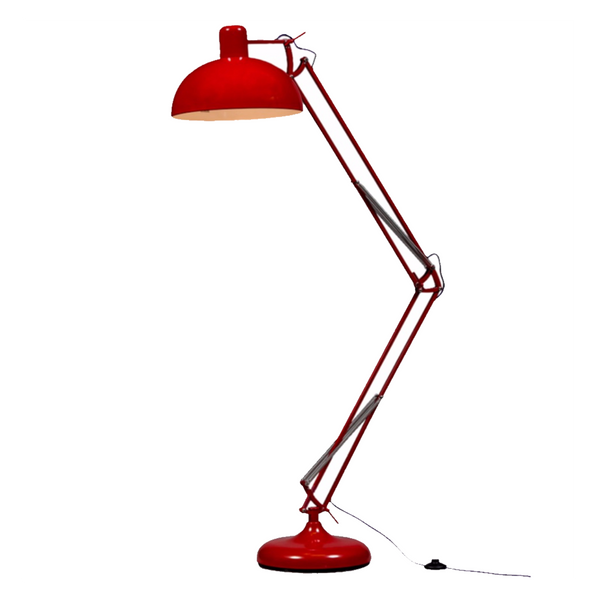 Extra Large Angled Floor Lamp - Red with Purple Fabric Flex