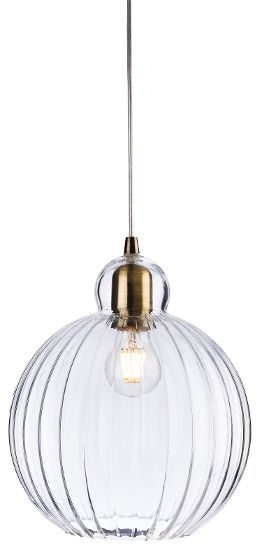 Ribbed Glass Pendant Globe 25cm