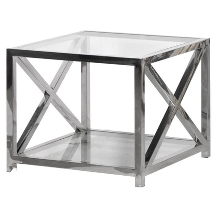 Glass Console with Wooden Drawers