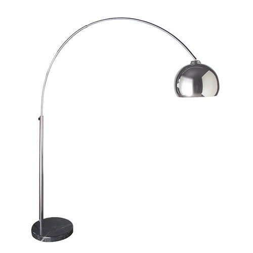 This is an elegantly classic arched floor lamp which looks amazing over sofas, dining tables and in areas which need that extra bit of intimate lighting.  The base is made from solid black marble with white veining.  The arm extends upwards and outwards to a maximum 160cm.  The chrome head can be adjusted and has a 160 degree directional swing.   H: 205 cm W: 160 cm  Shade diameter:  30 cm