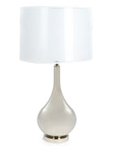 Silvered Glass Table Lamp With White Shade