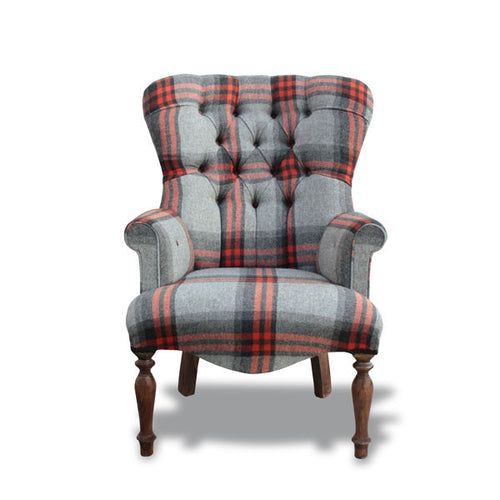 Red & Grey Wool Tartan Small Tub Chair