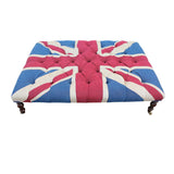 Union Jack Buttoned Coffee Table Stool