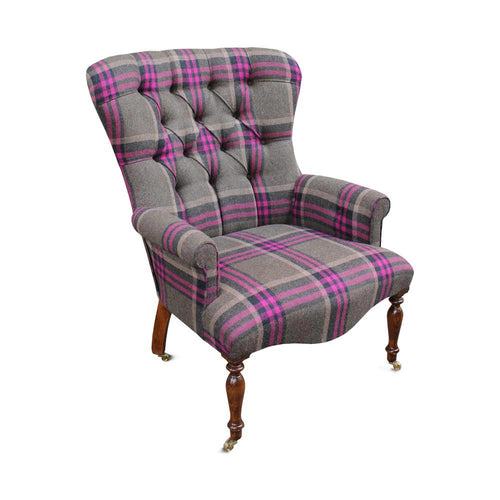 Magenta Beam Woollen Button Back Chair - Large