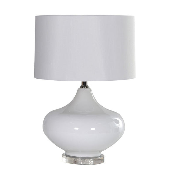 Round White Lamp with White Shade