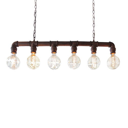 Industrial pipework linear light looks great above a dining table or kitchen island.  An industrial bronze light which looks amazing with 6 globe bulbs.  The bronze chain can be easily adjustable and the light measures 85cm wide.