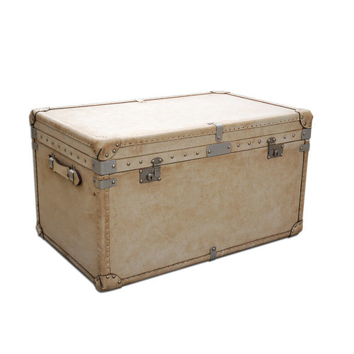 Large White Velum Leather Bound Trunk