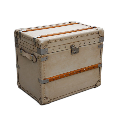 Medium White Velum Leather Bound Trunk