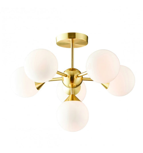 Aria Opal 6 Ball Light with Brushed Gold Metalware
