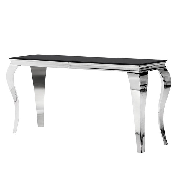 Black Glass & Steel Console Table