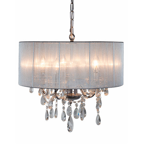 Chrome Chandelier with Silver Shade