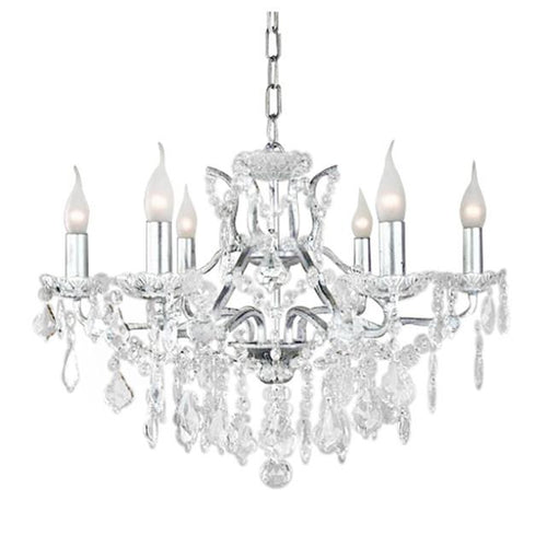 6 Branch Silver Shallow Chandelier