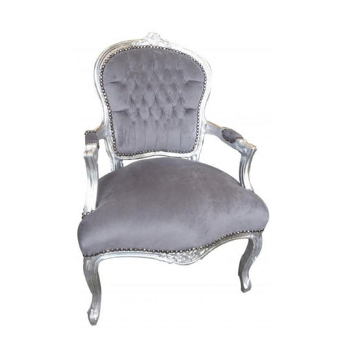 Grey Velvet Armchair with Silver Frame