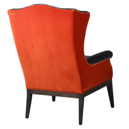 Grey & Orange Velvet Armchair