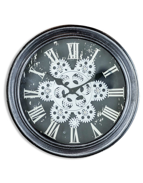 Antique Black And Silver Grey Moving Gears Wall Clock