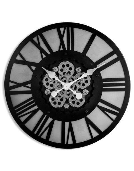 Large Black Skeleton Backlit Moving Gears Wall Clock