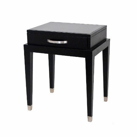 Black Glass Top & Nickel Bedside Table