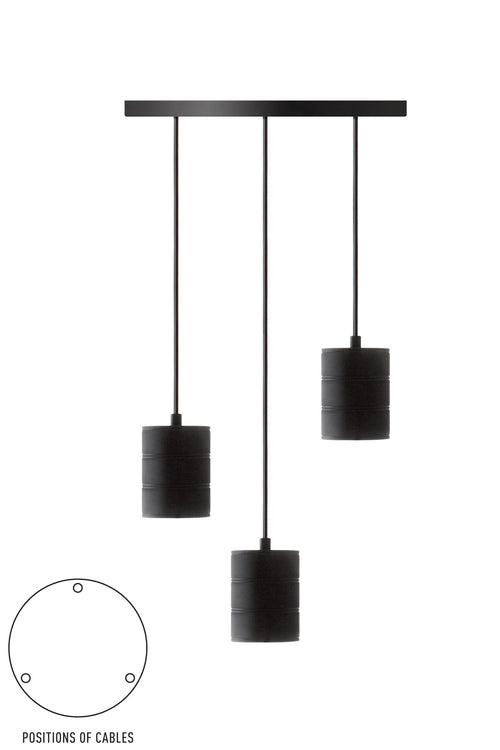 3 Cluster Pendant Black Bulb Holder E40