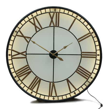 Large Gold Framed Backlit Wall Clock