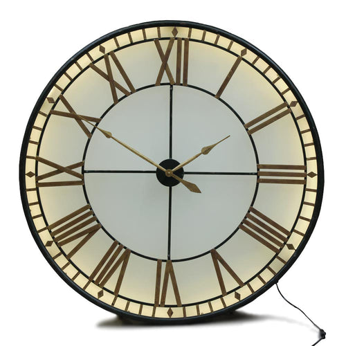 Black & Gold Back Lit Glass' Big Ben' Wall Clock 32'' & 47''
