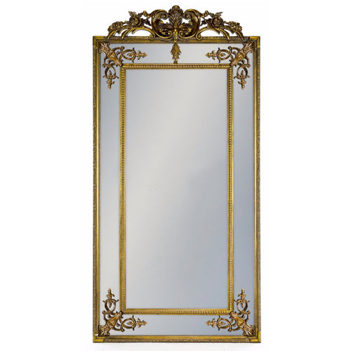 Elegant Large Gilt French Mirror With Crown - Gold
