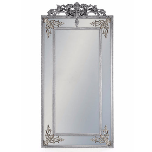Elegant Large Gilt French Mirror With Crown - Silver