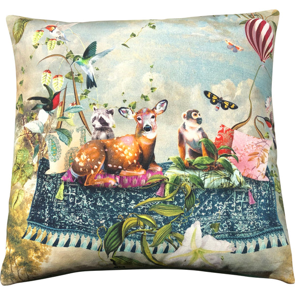 Deer & Monkey Feather Filled Cushion