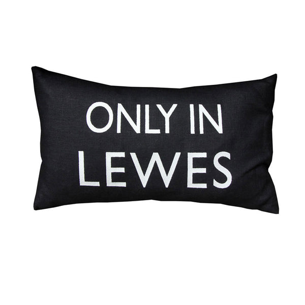 Only In Lewes Black Cushion