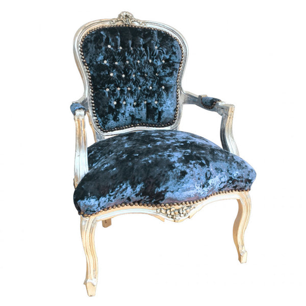Crushed Navy Blue Velvet Chair with Silver Frame & Crystal Studded Back