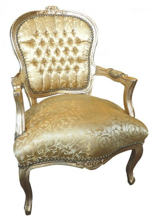 Gold Floral Chair With Gold Frame