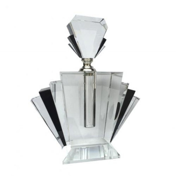 Tall Crystal Deco Black & Clear  Perfume Bottle.