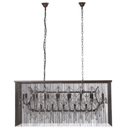 Rectangular Bead & Glass Chandelier