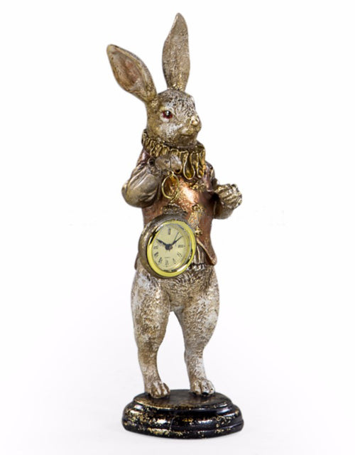 Gold Rabbit Standing Clock Figure