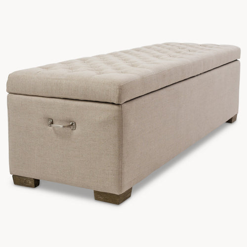 Westcliff Beige Ottoman, Oak & Birch Wood Ottoman, Storage Stool. Double Bed