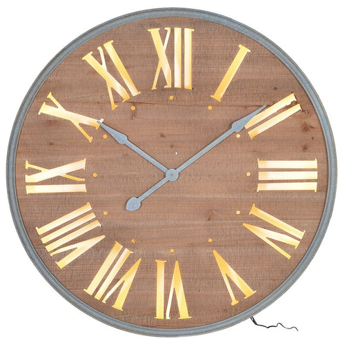 Lit Wood Wall Clock