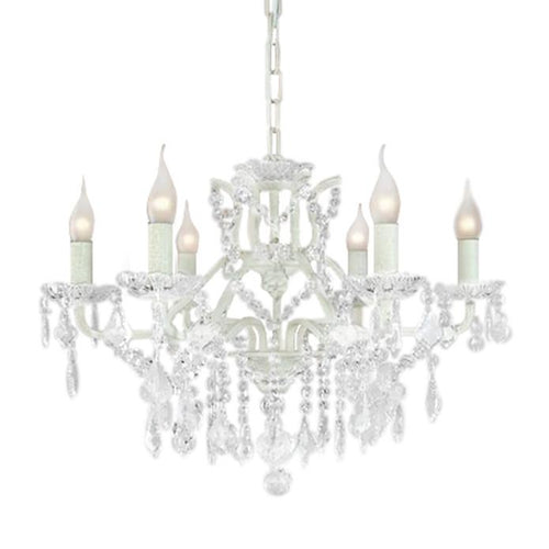 6 Branch White Shallow Chandelier