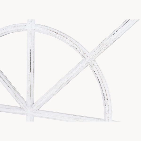 Distressed White Arched Wood Window Mirror