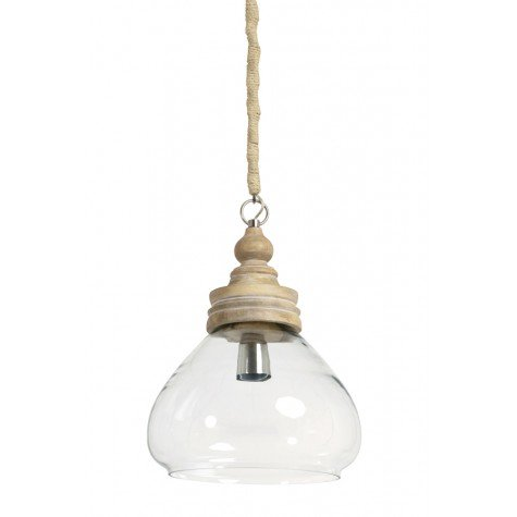 Glass Hanging Lamp With Wooden Top