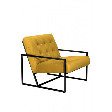 Yellow Velvet Chair with Black Frame