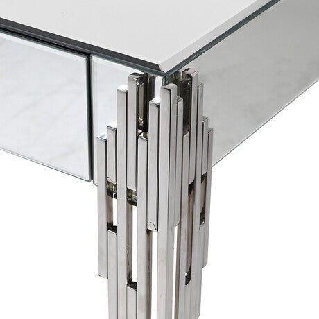 Mirrored Glass and Chrome Console Table