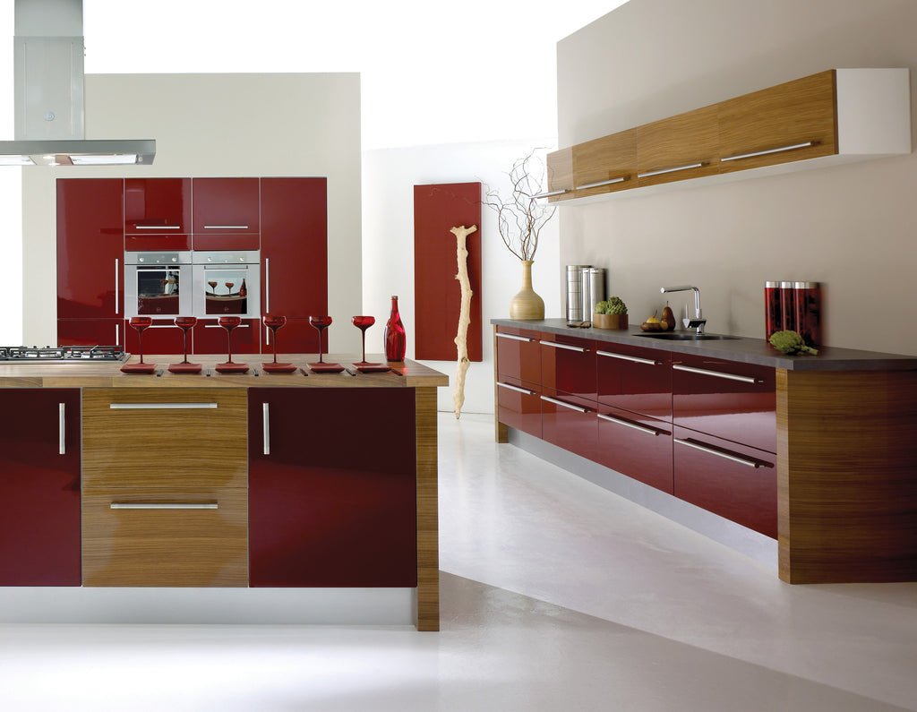 Fusion - Our best Selling Gloss Painted and veneered door, Red Gloss and also Wood grain door shown here