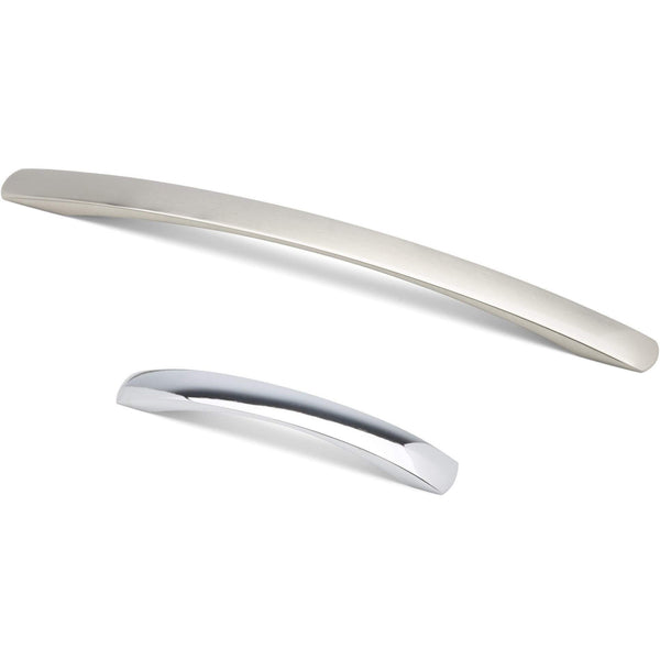 FLAT CURVED, Bow Handle in Brushed Nickel or Chrome