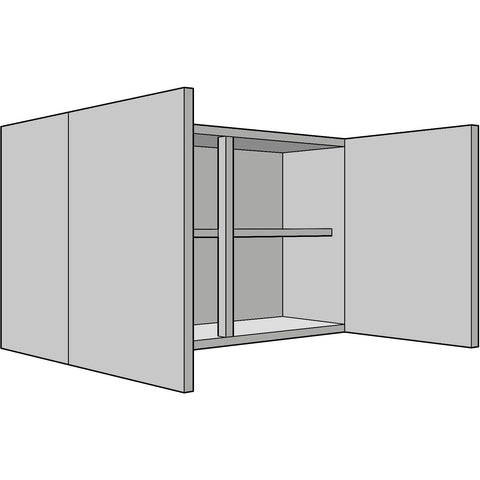 Hoxton 'Curve' 575mm High Wall Unit, Double, Complete Kitchen Cabinets - Kitchen Suppliers Online