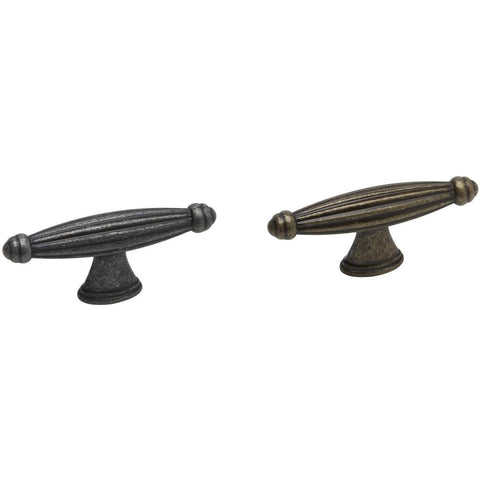 REEDED, Handles or 'T' Knob in Antique or Pewter