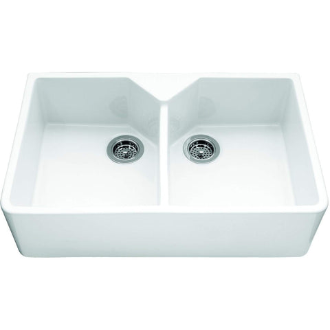Sandown - Double Sit-on Ceramic Sink, Width 800mm, Sinks - Kitchen Suppliers Online