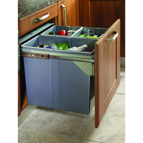Side Mounted Pull-Out Segregated 68 Litre Waste Bin, 1 x 34 Litre and 1 x 17 Litres Bin Capacity, Storage - Kitchen Suppliers Online
