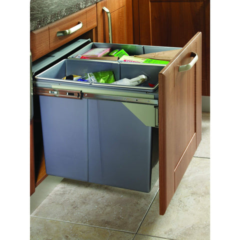 Side Mounted Pull-Out Segregated 68 Litre Waste Bin, 2 x 34 Litre Bin Capacity, Storage - Kitchen Suppliers Online