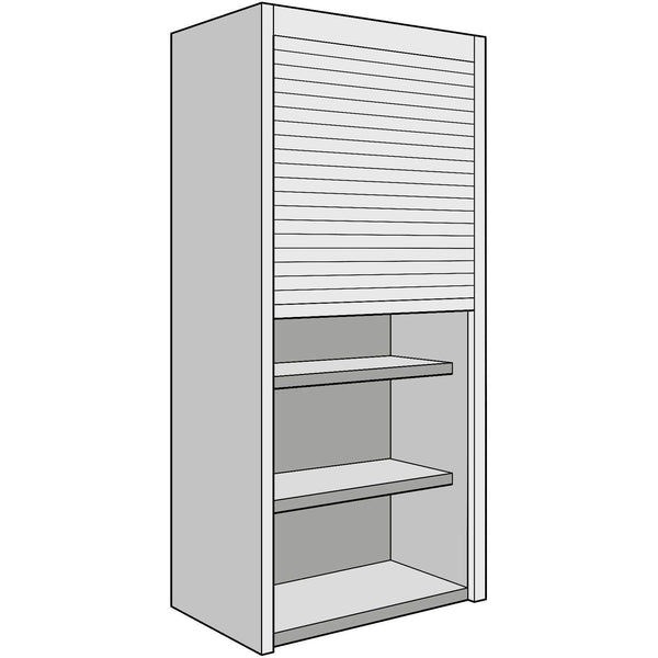 Tambour Door Dresser Unit 300mm Depth - Includes Stainless Steel Effect Door